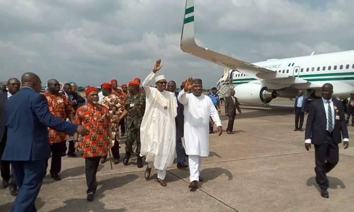 Buhari Arrives Enugu Airport