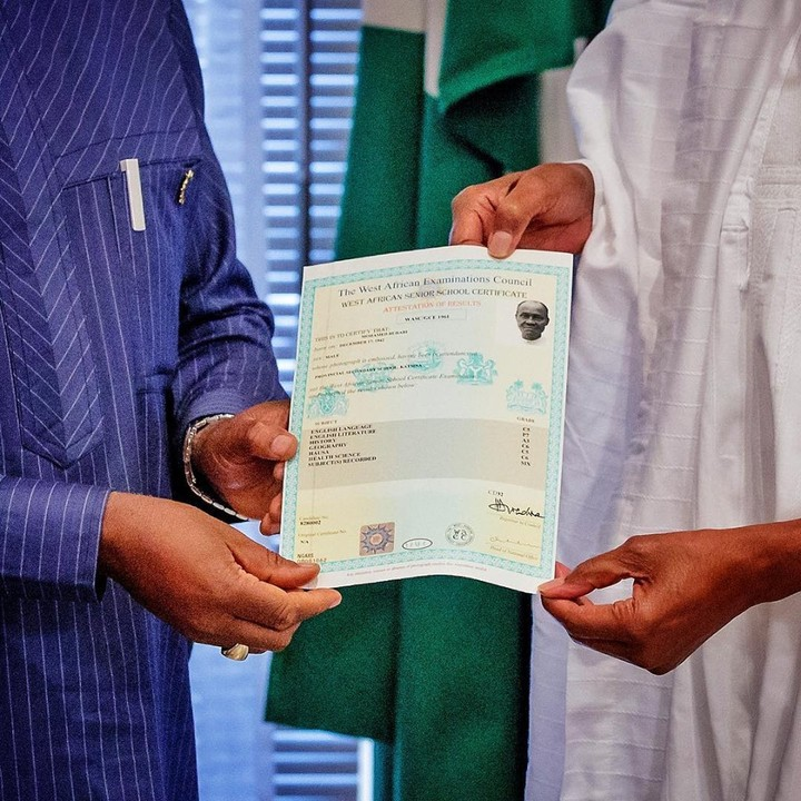Photos Of President Buhari Receiving His WAEC Certificate