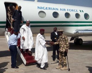i Pic.16. The Theater Commander of Operation Lafiya Dole, Maj. - Gen. Lucky Irabor (R) welcoming Ahaji Abba Kyari, the Chief of Staff to the President who led a Federal Government delegation team on a condolence visit to Maiduguri on Wednesday (18/1/17) over Tuesday's accidental bombing of a civilian community in Rann. 00543/18/1/2017/Ali Baba Inuwa/BJO/NAN